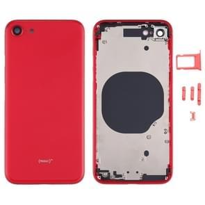 Battery Back Cover met Camera Lens Cover & SIM Card Tray & Side keys voor iPhone SE 2020(Rood)