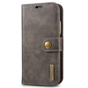 DG. MING voor iPhone X Crazy Horse textuur horizontale Flip afneembare magnetische beschermhoes met houder & Card Slots & Wallet(Grey)