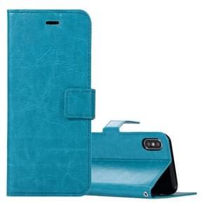 Voor iPhone X Crazy Horse textuur horizontaal flip lederen draagtas met houder & Card Slots & portemonnee & Foto Frame(Blue)