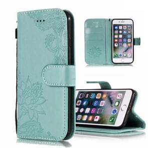 Vintage reliëf Floral Lace bloem patroon horizontale Flip lederen case voor iPhone X/XS  met kaartsleuf & houder & portemonnee & Lanyard (groen)