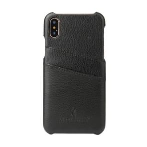 Fierre Shann voor iPhone X Litchi textuur echte lederen Back Cover Case met Card Slots(Black)
