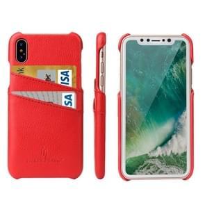 Fierre Shann voor iPhone X Litchi textuur echte lederen Back Cover Case met Card Slots(Red)