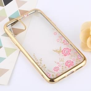 Bloemen patronen galvaniseren zachte TPU beschermende cover Case voor iPhone XI Max 2019 (goud)