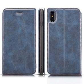 Retro eenvoudige Ultra-Thin magnetische horizontale Flip lederen case voor iPhone X/XS  met houder & kaartsleuven & Lanyard (blauw)