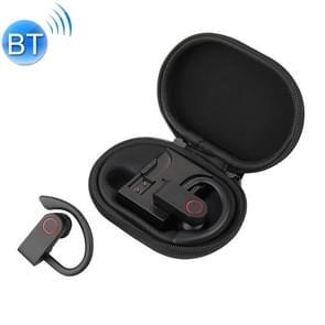 JHO-A9 TWS draadloze opknoping oor type Bluetooth oortelefoon met opladen + opslag geïntegreerde rits zak  ondersteuning Stembediening (zwart)