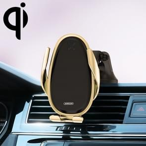 JOYROOM JR-ZS199 Speed Series Qi standaard luchtuitlaat + Center Control console draadloze inductie opladen auto beugel (goud)