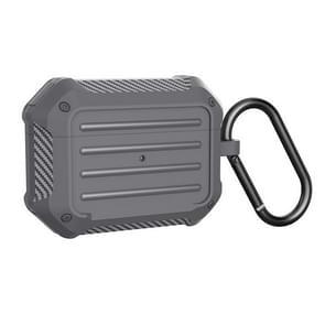 WIWU APC006 Voor Airpods Pro Schokbestendige koolstofvezel textuur Bluetooth oortelefoon beschermhoes (grijs)