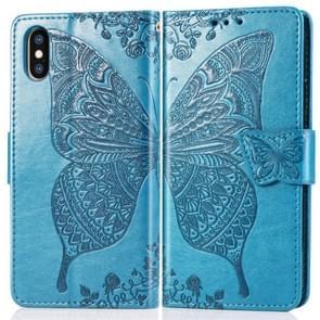 Butterfly Love bloemen reliëf horizontale Flip lederen case voor iPhone X  met houder & kaartsleuven & portemonnee & Lanyard (blauw)