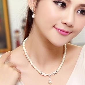 3 in 1 bruids toebehoren Lady klassieke mode parel oorbel ketting sieraden set