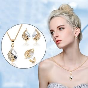 3 PC'S vrouwen mooie Peacock Crystal-achtige ketting ring oorbellen sieraden set