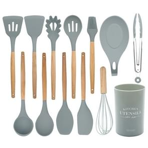 13 in 1 siliconen houten handvat hittebestendig koken bestek sets keuken gereedschap met grote container
