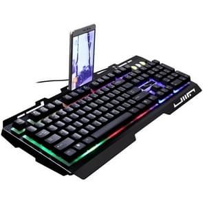 ZGB G700 104 toetsen USB-bekabelde mechanische gevoel RGB-achtergrondverlichting metalen Panel schorsing Gaming toetsenbord met telefoon Holder(Black)