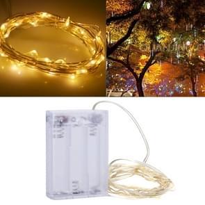 3m 150LM LED zilver draad String licht  geel licht  3 x AA batterijen aangedreven SMD-0603 Festival Lamp / decoratie Light Strip