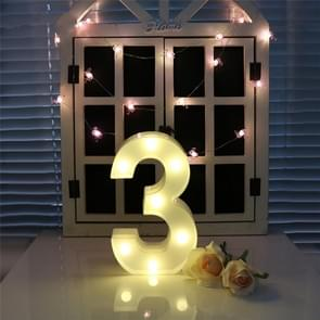 Digit 3 vorm decoratie licht  droge batterij aangedreven warm wit staande opknoping vakantie licht