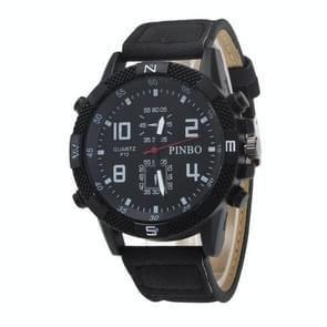 3 pack hoes Round Dial lederen riem Canvas horloge (kleur: zwarte plaat zwarte gordel)