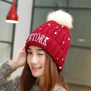 Winter nieuwe stijl wol dames hoed  kleur Matching dik en Warm wol gebreide muts (donkerrood)