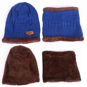 Fashion Winter Unisex stad muur Beanie sjaal pak  dik en pluche warme gebreide Hat(Black)