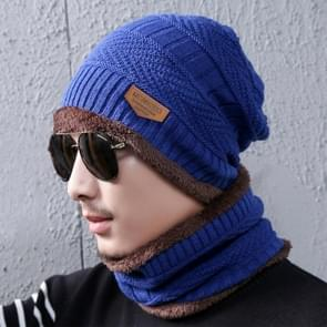 Fashion Winter Unisex stad muur Beanie sjaal pak  dik en pluche warme gebreide Hat(Blue)