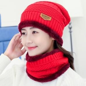 Fashion Winter Unisex stad muur Beanie sjaal pak  dik en pluche warme gebreide Hat(Red)