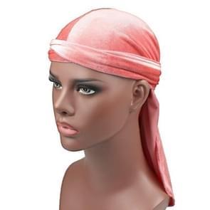 Fluweel tulband cap lange staart piraat Hat chemotherapie GLB (roze)