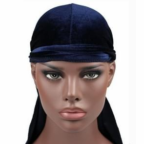 Fluweel tulband cap lange staart piraat Hat chemotherapie Cap (marineblauw)
