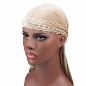 Fluweel tulband cap lange staart piraat Hat chemotherapie Cap (beige)