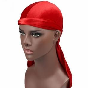 Fluweel tulband cap lange staart piraat Hat chemotherapie Cap (rood)