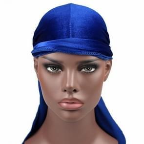Fluweel tulband cap lange staart piraat Hat chemotherapie GLB (Sapphire Blue)