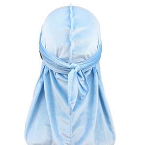 Fluweel tulband cap lange staart piraat Hat chemotherapie Cap (hemelsblauw)