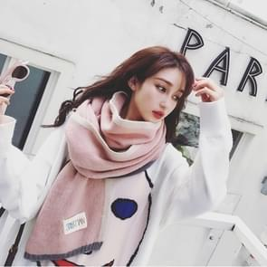 Solid Color Thick Warm Knit Woolen Scarf  Size: 40 * 20.5cm(Pink)