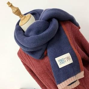 Solid Color Thick Warm Knit Woolen Scarf  Size: 40 * 20.5cm(Blue)
