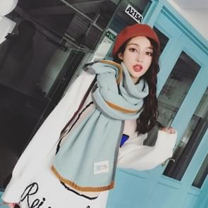 Solid Color Thick Warm Knit Woolen Scarf  Size: 40 * 20.5cm(Light Green)