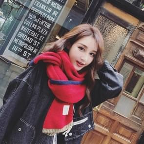 Effen kleur dik Warm gebreid wollen sjaal  grootte: 40 * 20.5cm(Red)