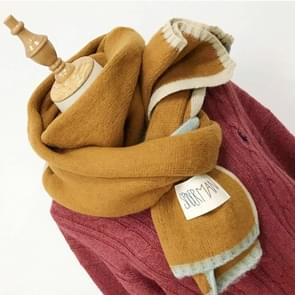 Solid Color Thick Warm Knit Woolen Scarf  Size: 40 * 20.5cm(Yellow)