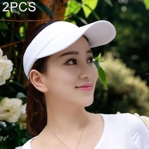 2 PCS Lightweight and Comfortable Visor Cap for Women in Outdoor Golf Tennis Running Jogging Adjustable Strap (White)