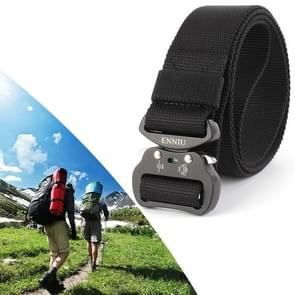 ENNIU 3.8cm Wide Aviation Aluminum Buckle Nylon Belt Adjustable Multifunction Training Belts (Black)
