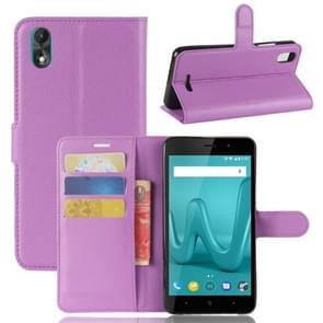 Voor Wiko Lenny4 Plus Litchi textuur horizontaal lederen draagtas met houder & portemonnee & kaartgroeven (paars spiegelen)