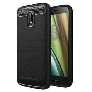 Voor Motorola Moto E3 geborsteld textuur koolstofvezel TPU beschermende Case(Black)