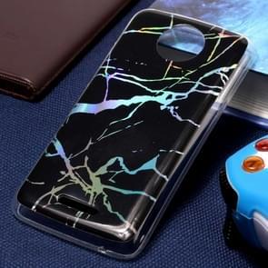 Voor Motorola Moto C Plus Black Gold Marble Pattern zachte TPU beschermende achtercover Case