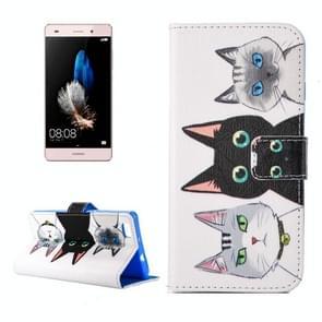 Huawei P8 Lite horizontaal Drie katten patroon PU leren Flip Hoesje met houder en opbergruimte voor pinpassen & geld