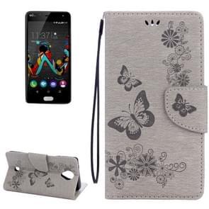 Wiko U voelt vlinders Embossing horizontale Flip leerhoes met houder & kaartsleuven & portemonnee & Lanyard(Grey)