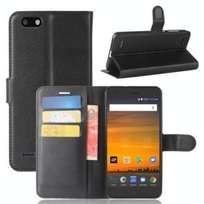 ZTE Blade Force / N9517 Litchi Texture horizontale Flip lederen draagtas met houder & kaartsleuven & portemonnee (zwart)