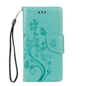 Voor Wiko Lenny3 Max bloemen patroon horizontale Flip lederen draagtas met houder & kaartsleuven & Wallet(Green) ingedrukt