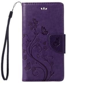Wiko U voelt Lite ingedrukt bloemen horizontaal flip lederen draagtas met magnetische sluiting & houder & kaartsleuven & Wallet(Purple)