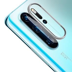 Krasbestendige mobiele telefoon metalen achteruitrijcamera lens ring + achteruitrijcamera lens beschermende filmset voor Huawei P30 Pro (zilver)