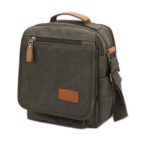 Multifunction Canvas Men Messenger Bags Travel Crossbody Shoulder Business Briefcase Tablet Bag Hand Bag  Size: 26x22x7.5cm(Army Green)