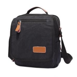 Multifunction Canvas Men Messenger Bags Travel Crossbody Shoulder Business Briefcase Tablet Bag Hand Bag  Size: 26x22x7.5cm(Black)