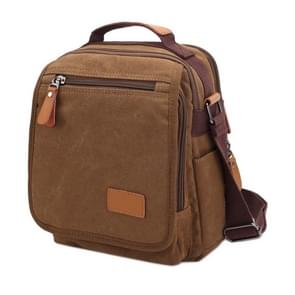 Multifunction Canvas Men Messenger Bags Travel Crossbody Shoulder Business Briefcase Tablet Bag Hand Bag  Size: 26x22x7.5cm(Coffee)