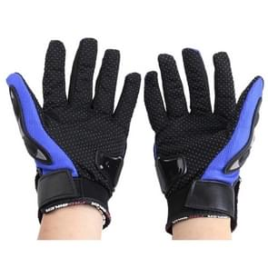 One Pair PRO-BIKER MCS-01C Breathable Wearable Full Finger Protective Motorcycle Gloves Outdoor Sports Keep Warm Gloves  Size: L(23-24cm)(Black+Blue)