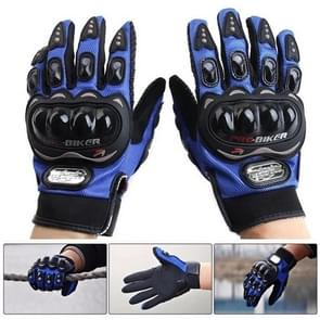 One Pair PRO-BIKER MCS-01C Breathable Wearable Full Finger Protective Motorcycle Gloves Outdoor Sports Keep Warm Gloves  Size: XL(25-27cm)(Black+Blue)